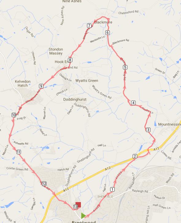 Brentwood Half Marathon Route
